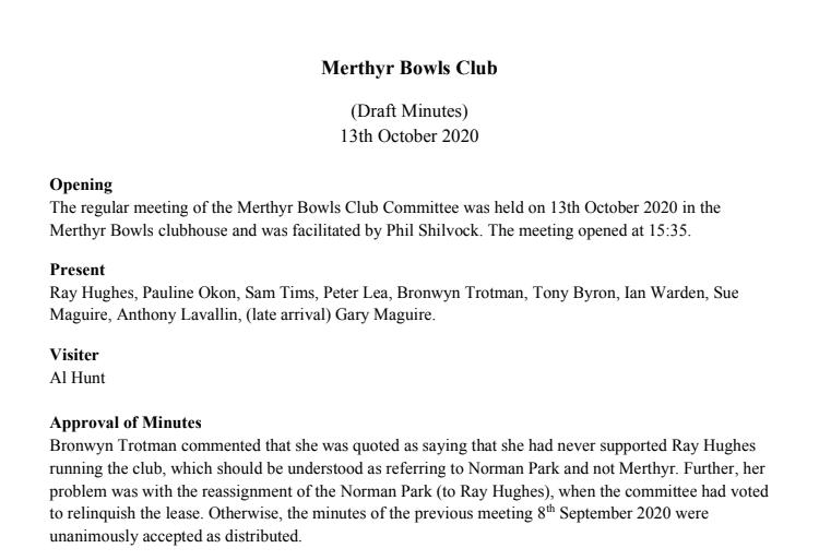 Merthyr Bowls Club – Minutes 13/10/20